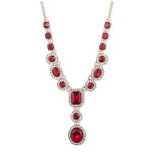 Givenchy Pave' and Red Crystal Lariat Necklace